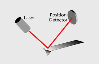 Graph showing the laser and the position detector