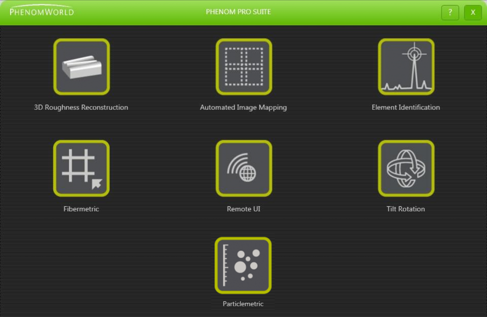 Standard view of the Phenom Pro Suite Software