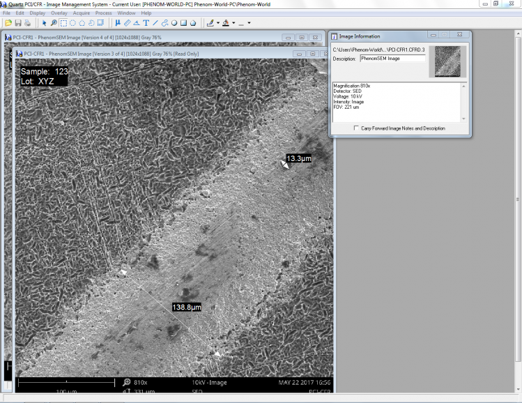 A cryptographically signed PDF file after processing with the Phenom Scanning Electron Microscope