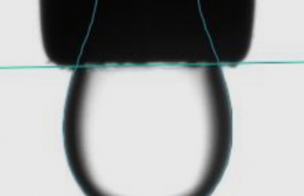 Optical image of pendant drop of a sample