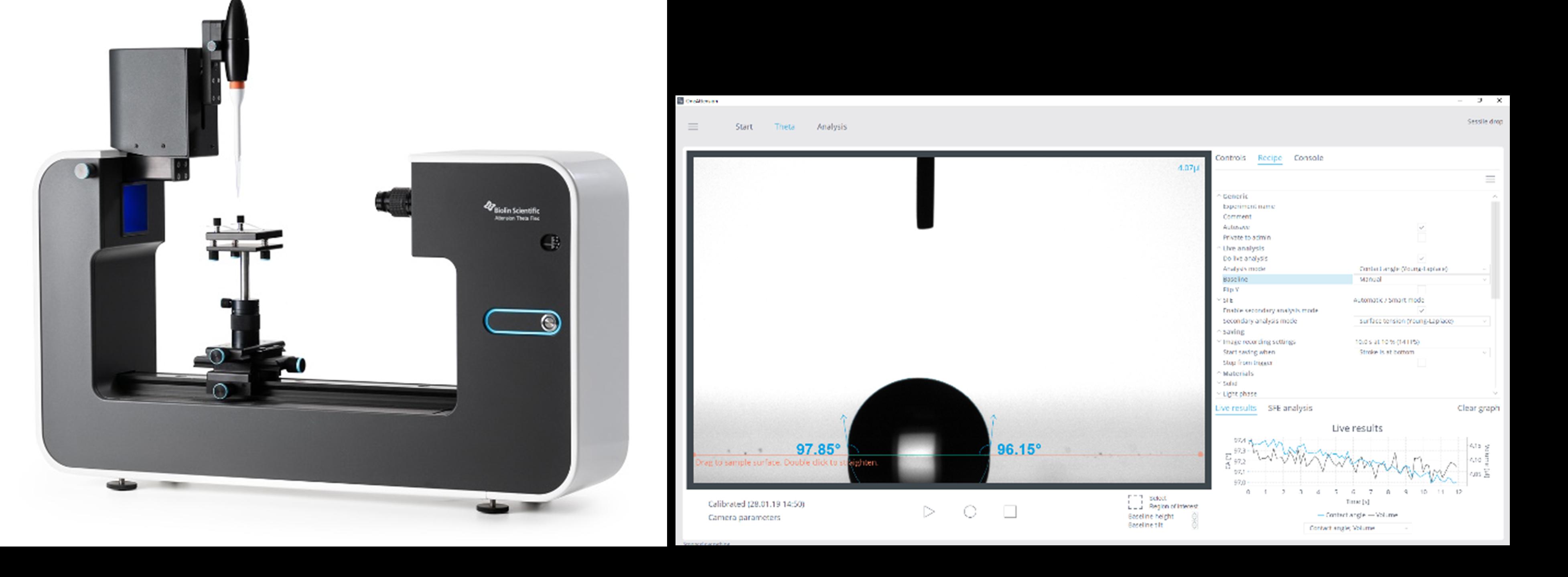 Theta Flex optical tensiometer and contact angle data output