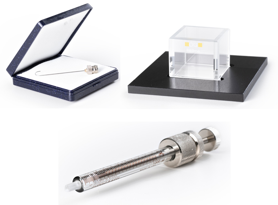 Hooked needle, cuvette and threaded syringe used in performing captive bubble measurements