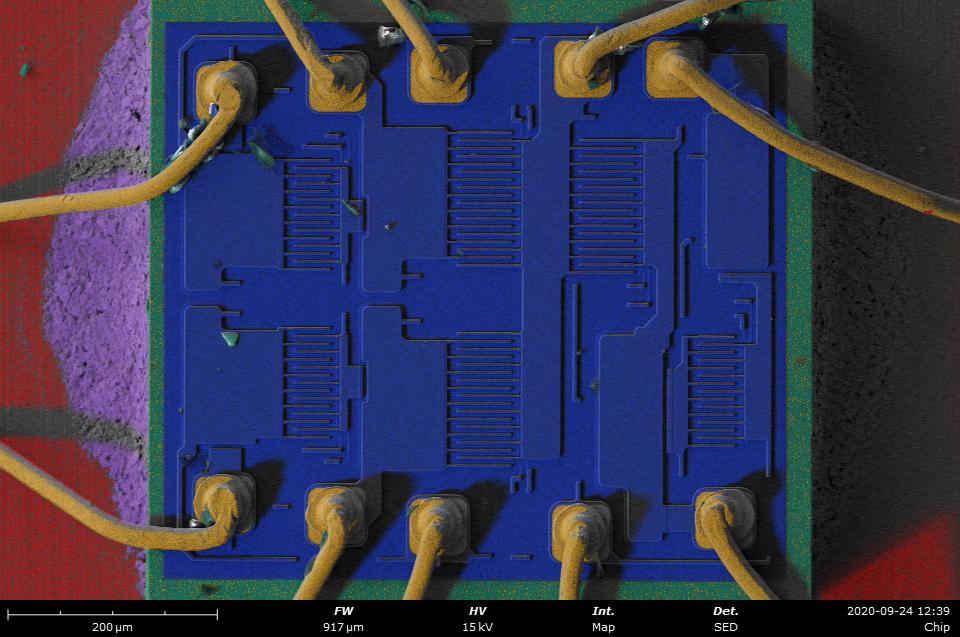 Phenom desktop SEM - EDS map of an electronic chip